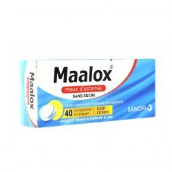 MAALOX MAUX D'ESTOMAC SANS SUCRE comprimé à croquer édulcoré à la saccharine sodique, au sorbitol et au maltitol