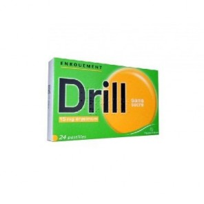 Pastilles drill enrouement 15 mg sans sucre 24 pastilles