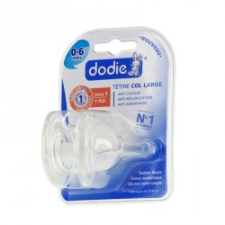 Dodie tétine initiation+ col large 3 vitesses silicone 2 tétines